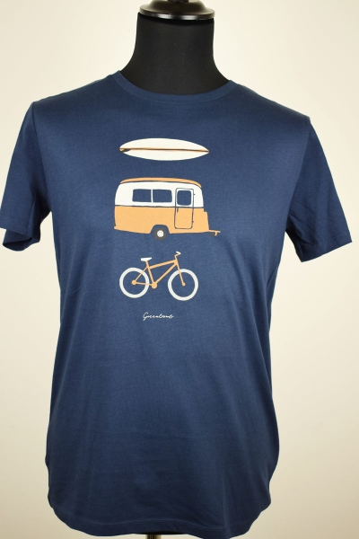 T-Shirt- Greenbomb- dunkelblau- Surf.Camper.Bike